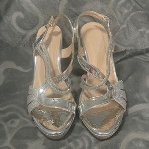Forever FQ22 Strappy Wrapped Wedge Heels - Silver